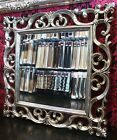 LARGE ANTIQUE BEVELED EDGE FRENCH STYLE WALL MIRROR SILVER FRAME