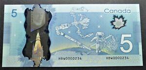 CANADA-5-DOLLARS-2013-POLYMER-HBW0000234-LOW-SERIAL-NUMBER-GUNC
