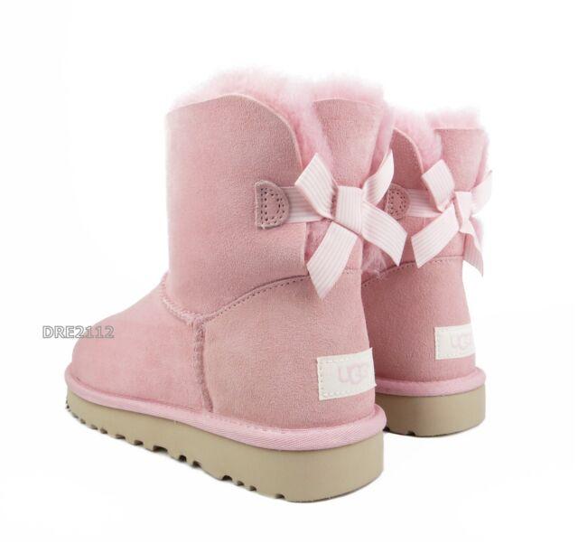 ugg mini bailey bow stripe petal pink womens boots us 10 ebay rh ebay com