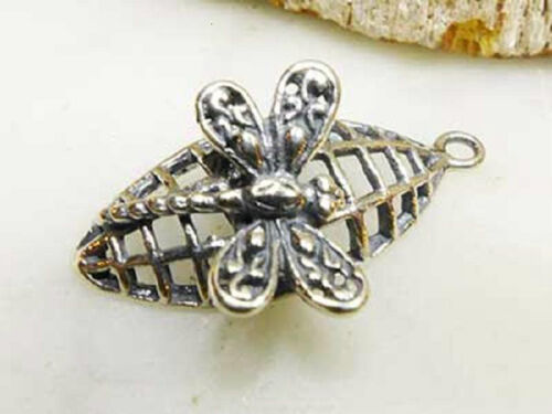 DH82-1 .925 Sterling Silver Lightly Oxidized Fancy Dragonfly Charm Pendant