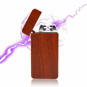 USB-Electric-Dual-Arc-Flameless-Torch-Rechargeable-Windproof-Lighter-Red-Wood