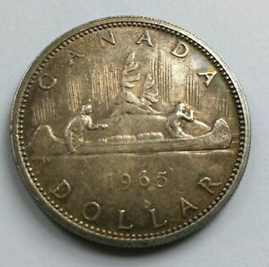 1965-Canada-One-Dollar-Silver-Coin-1-Queen-Elizabeth-the-Second-ll