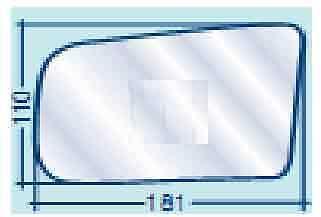 Lancia Thema fino al 1989 Vetro Dx Curvo Azzurrato per Specchietto Retrovisore