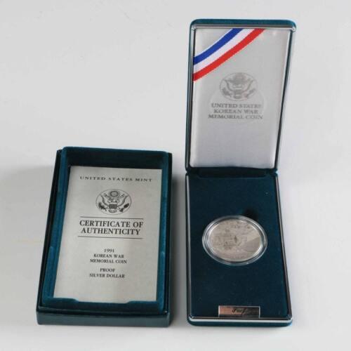 1 1991 P Korean War Memorial $1 Commemorative Proof Silver Dollar w// COA /& Box