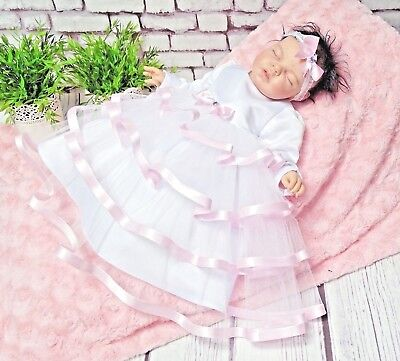 Taufkleid Kids' Clothing, Shoes & Accs Stirnband Top QualitÄt 62,68,74,80,86 Tüll Langarm ❤️neuheit ❤️