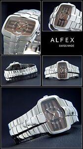 STRAVAGANTE-Alfex-Designer-Orologio-unisex-swiss-made-kupferfarbenes-quadrante