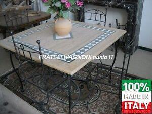 Tavolo Marmo Cucina.Dettagli Su Tavolo Marmo Con Intarsi E Ferro 4 Sedie In Ferro Salotto Giardino Cucina