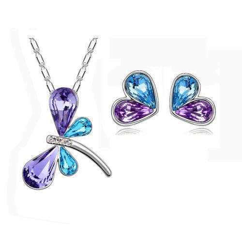 Blu Viola Libellula Set Gioielli Bottone Cuori Orecchini Ciondolo Collana S360