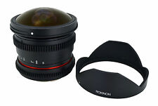 New Rokinon De-clicked HD 8mm T3.8 Cine Fisheye Lens w/ Removable Hood for Canon