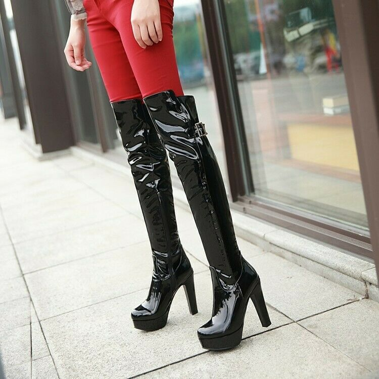New Over The Knee Platform Wide Calf Boots Thigh High Heel Sexy Evening Party AU