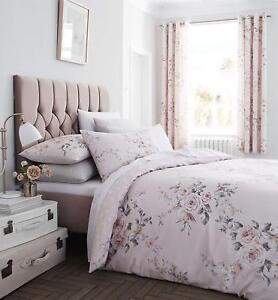Catherine-Lansfield-Canterbury-Blush-conjunto-de-funda-de-edredon-con-estampado-de-brillo-o-cortinas