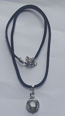 SMALL WINGED HEART CHARM ON BLACK   18 INCHES 3MM VELVET CORD  NECKLACE.