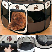 Oxford Pet Dog Cat Playpen Tent Portable Exercise Fence Soft Kennel Cage Crate