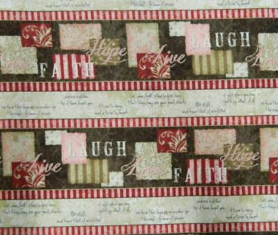 Country Patchwork Quilting WORDS TO LIVE BY BROWN Cotton Sewing 50x55cm FQ NEW