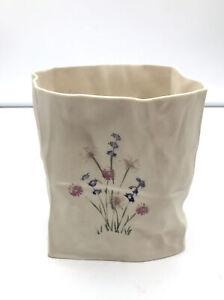 Vintage-Rare-Ceramic-Paper-Bag-Vase-Signed-RHJ-Modern-Art-Pottery-H-P-Flowers