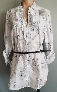 BNWT-Womens-Rivers-Sz-12-White-Black-Floral-Regular-Fit-Roll-Sleeve-Tunic-Shirt