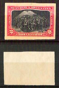 Argentina-1910-cent-2-su-cartoncino-Prova-colore-non-dentellato