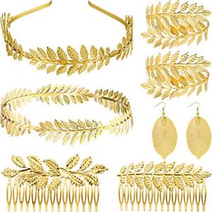 8 pcs Déesse Grecque Bandeau Couronne Costume Cheveux Accessoires Romain Laurel Gold
