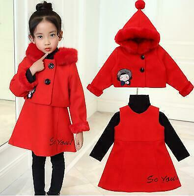 3pcs  Clothes Set Winter Jackets Hooded Coat+dress+shirt suit Kids Warm Coat