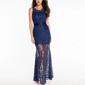 sneakers for cheap cd6cb 810e4 Dettagli su Elegante raffinato vestito abito donna lungo evento pizzo  cintura slim blu 3626