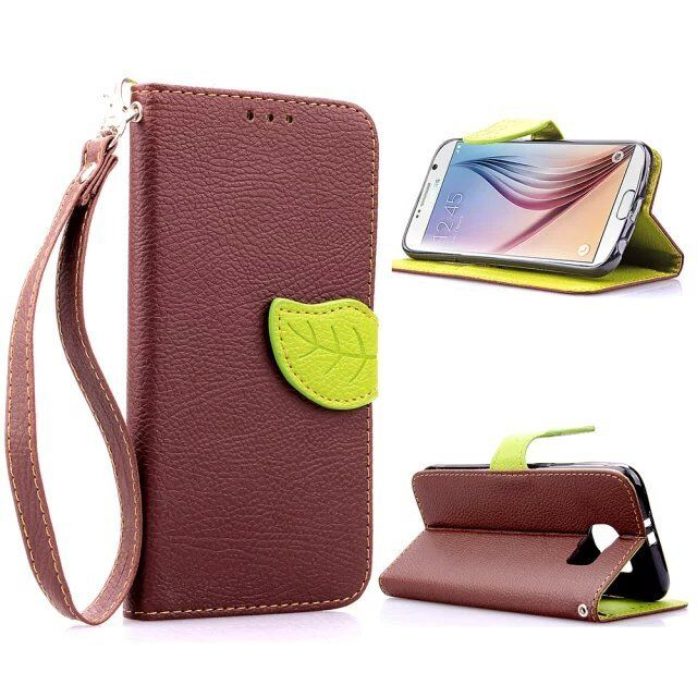 For Samsung GALAXY S6 Screen Protector/Leaf Pattern PU Leather Wallet Case