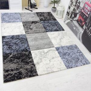 Das Bild Wird Geladen Moderner Wohnzimmer Schlafzimmer Gaestezimmer Teppich  Blau Grau Creme