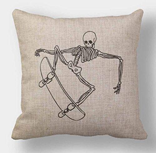 Dead Skull Skateboard Throw Pillow Home Decor Square 18 X 18 Inches Cotton Linen