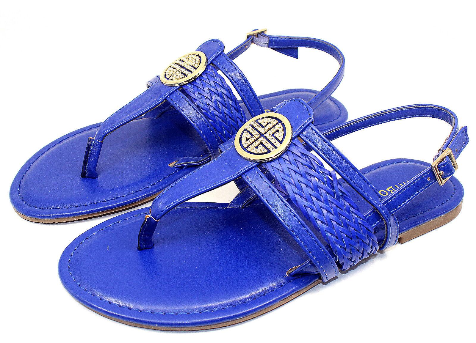 Nadya-15 Gladiator Women Buckles Comfort Flats Strappy Sandals Women Gladiator Shoes Blue 8 9615eb