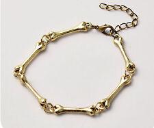 superb bone chain bracelet velvet gift bag gold Halloween steampunk punk UK
