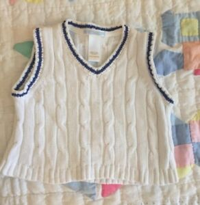 a0fedde7da9e Cute little Janie and jack sweater vest. White and blue cable knit 6 ...