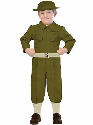 Boys Army Officer Costume WW2 Wartime Soldier Uniform Book Week Fancy Dress