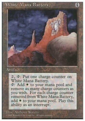 MTG 4x WHITE MANA BATTERY 4th Edition *Rare Artifact*