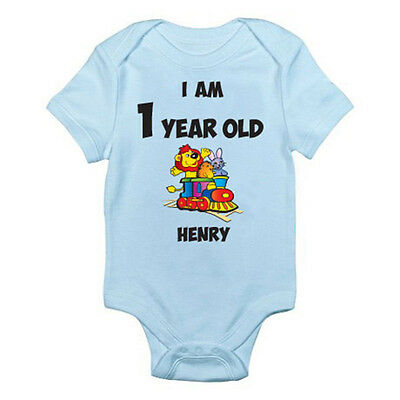1st Birthday Themed Baby Grow//Suit PERSONALISED NAMED ONE YEAR OLD TRAIN
