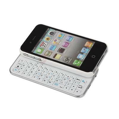 Bluetooth Wireless Rechargeable Sliding Keyboard Case for iPhone 4 4G 4S White