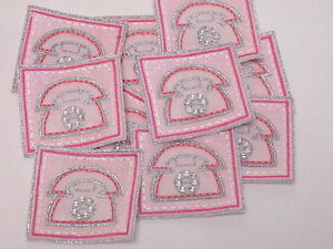 10 x Embroidered Turquoise Pink Flower Arts Crafts Card Making Motifs #7E14