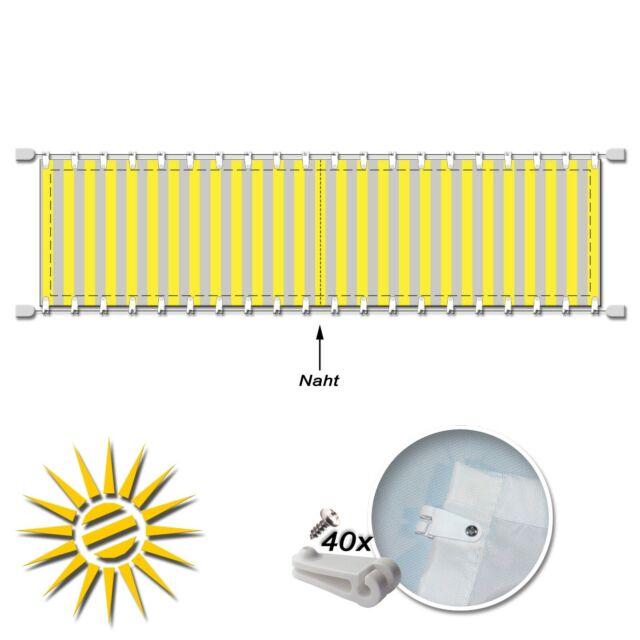 Seilspannmarkise gelb weiss ca 535x140 cm Pergola Komplett Set mit 40 Laufhaken