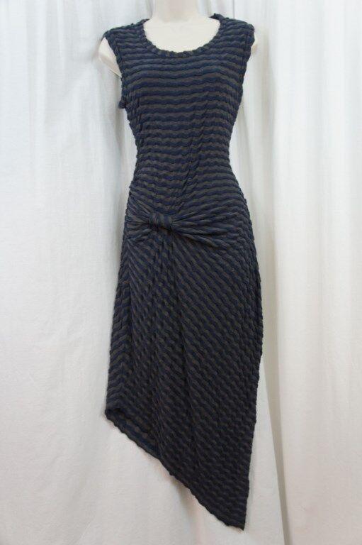 Studio M Kleid L Grau Meliert Blau Streifen Asymmetrisch Freizeitkleid