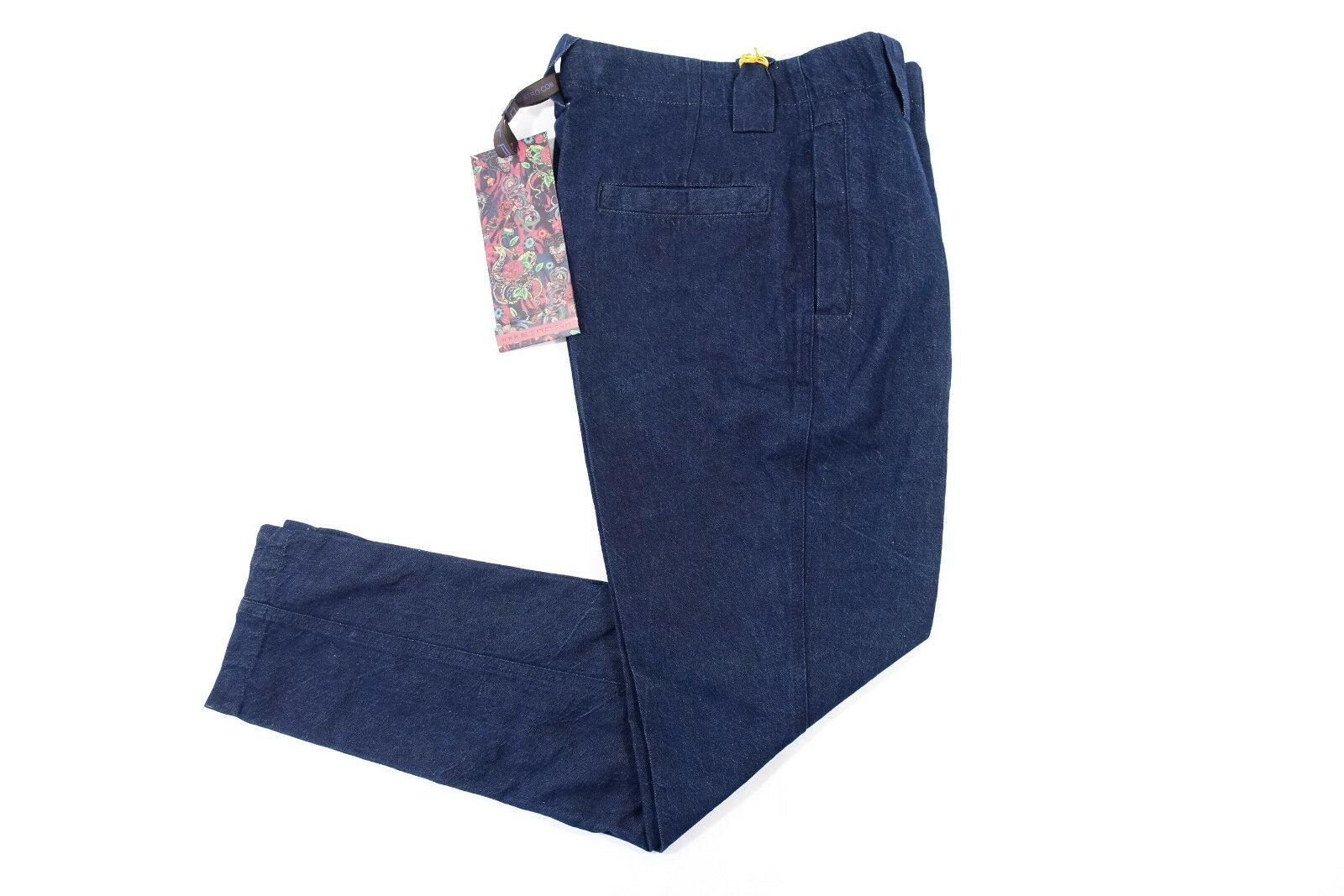 Etro Milano Made in  Blu Blu Blu Scuro 48 32 33 Slim Misto Lino Pantaloni Uomo aadcc2
