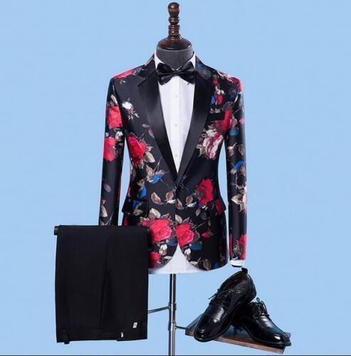 Mens Printed Floral Blazer Coat Slim Jacket Party Dress Formal Suits Pants Hot