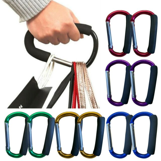 SO-buts Strong Durable Large Buggy Carabiner Hooks,Portable Pushchair Shopping Bag Holder Black