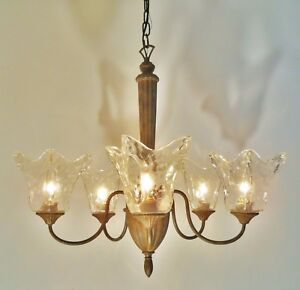 reputable site 13caf bdd26 Details about 5 Light Handmade Clear Glass Rustic Hanging Chandelier  Cottage Cabin