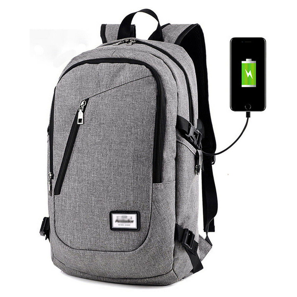 Anti-theft Mens Womens USB Charging Backpack Laptop Notebook Travel Sc... - s l1600