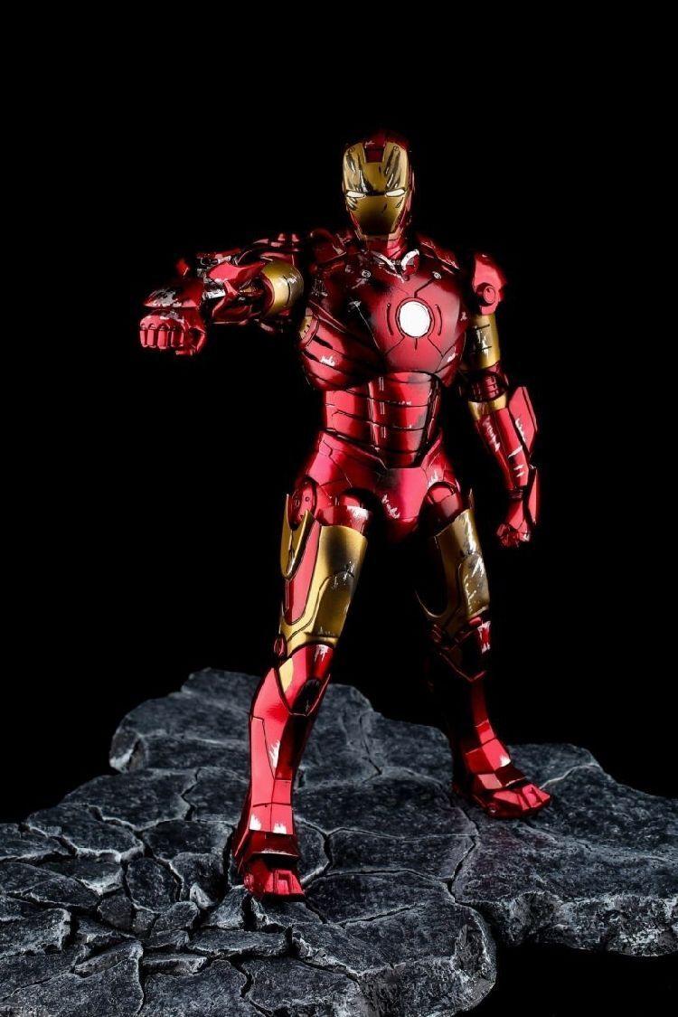 EZHOBI TOYS HYPER GOKIN Iron Man Mark III 3 Battle Damage 1 10 Figure w  Base