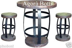Botti botte tavolo e sgabelli in ferro zincato e legno. ebay