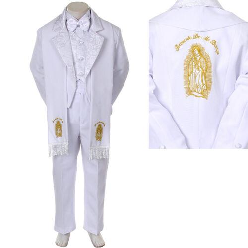 Baby Toddler Kid Child Boy Church Christening Baptism Tuxedo Suit S-7 White Gold
