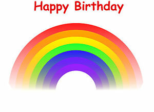 Rainbow Photo Picture Wafer/Icing Edible Cake Cupcake Topper Decoration Birthday