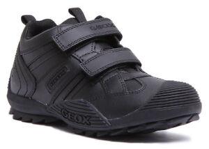 Image is loading Geox-Savage-Kids-Leather-Matt-Black-Trainers-UK- a7463870794