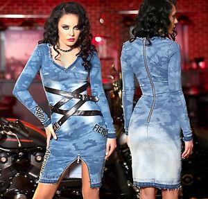Foggi-Damen-Bodycon-Kleid-Jeanskleid-Jeans-Minikleid-Lederlook-Stretchkleid-XS