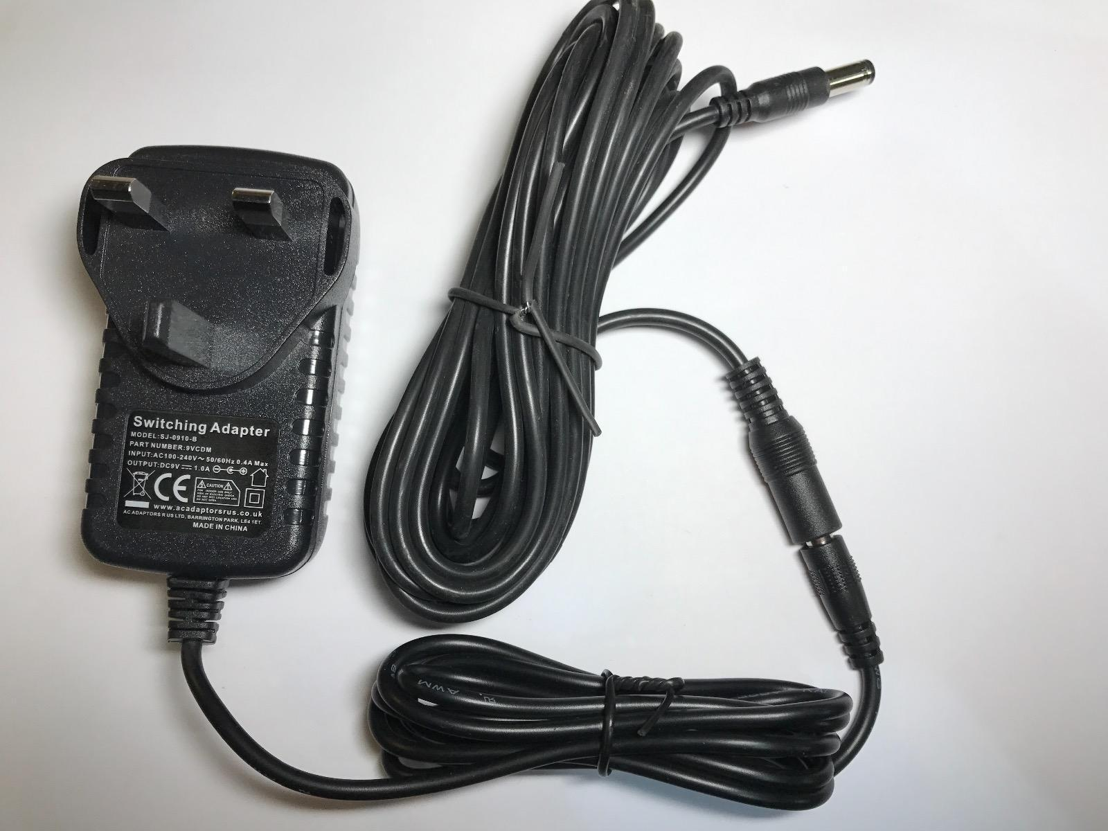 6 Metre Long 9V AC Adaptor Charger Power Supply for X Rocker Gaming Chair 51231