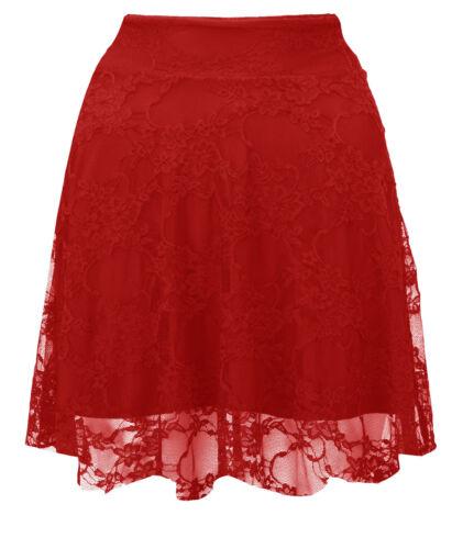 Ladies Floral Lace Skater Skirt Women High Waist Flare Mini Skirt Plus Size 8-22